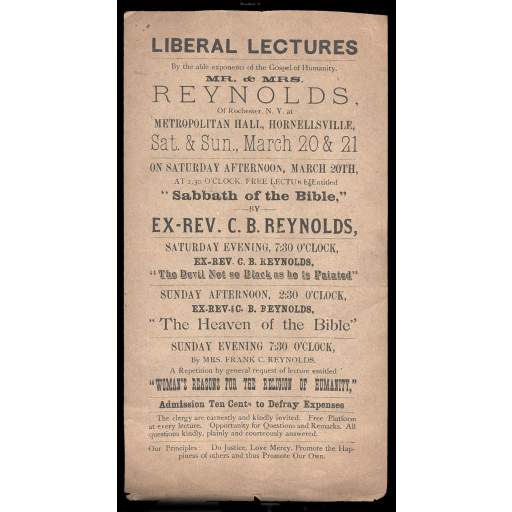 Handbill promoting C. B. Reynolds lecture