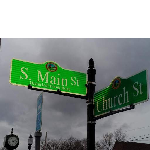 Main and Church Streets signage