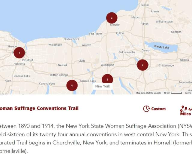 New Curated Trail Commemorates Sixteen Key Suffrage Conventions